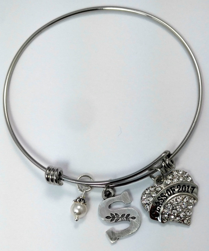 Class of 2017 Expandable Initial Charm Bracelet - Bling Chicks