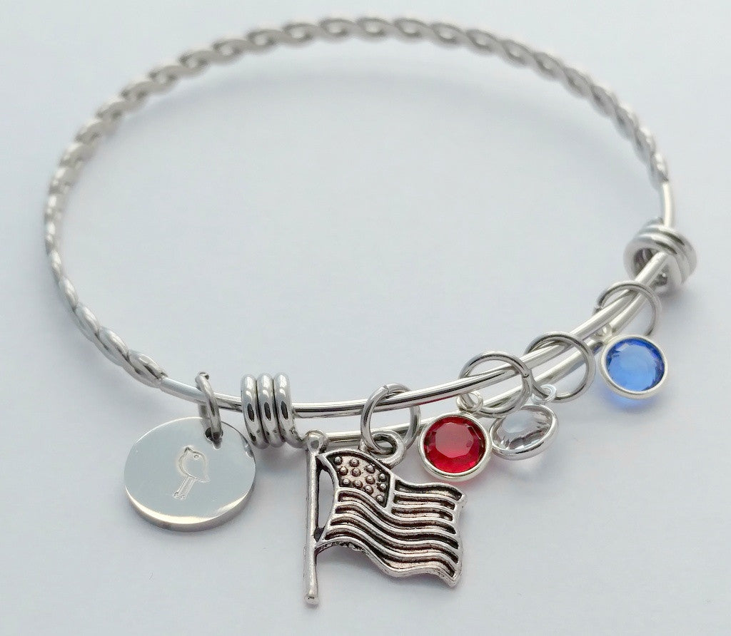 American Flag Patriotic Red White Blue Bling Chicks Charm Bracelet - Bling Chicks Jewelry Accessories Gifts