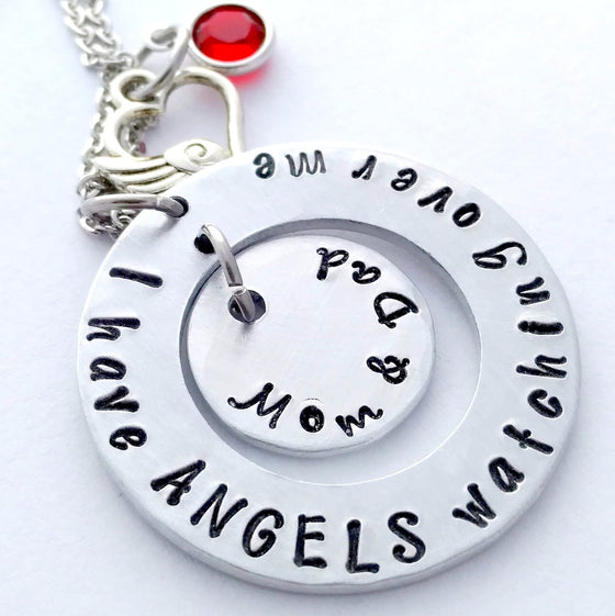 """I Have Angels Watching Over Me"" Necklace with Birthstones - Bling Chicks Jewelry Accessories Gifts"
