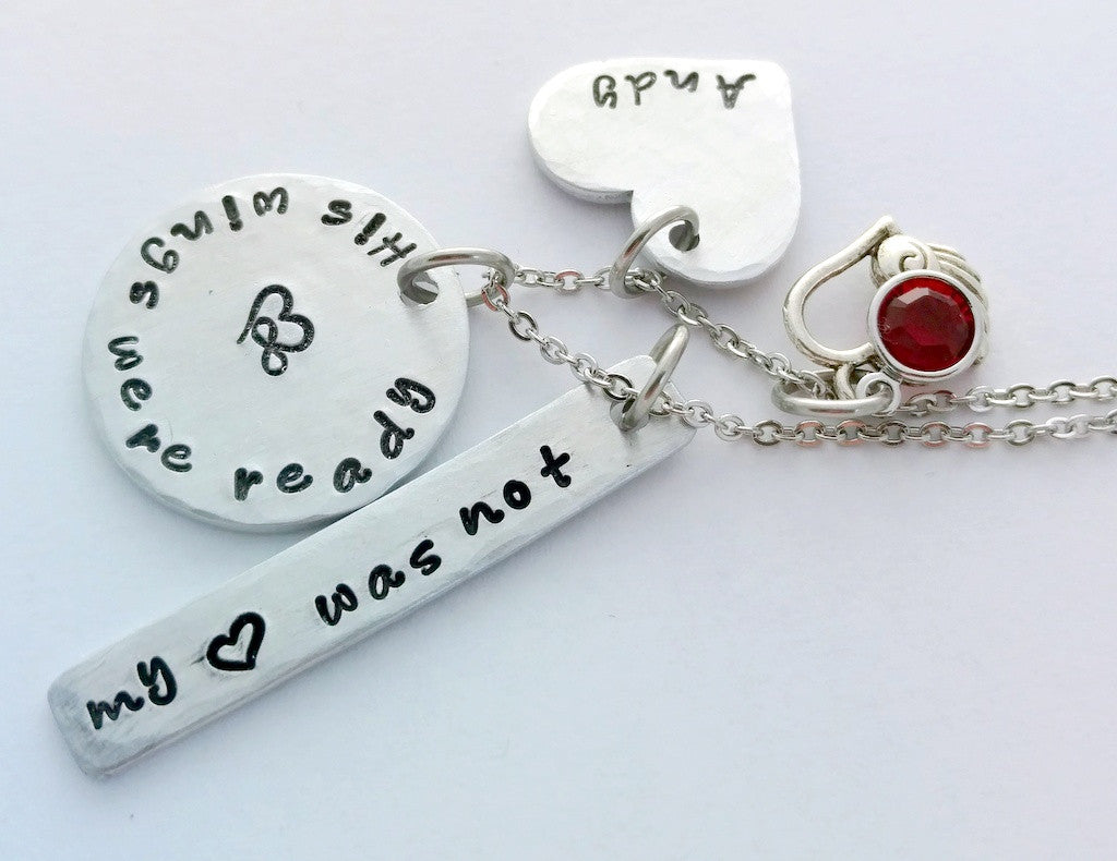"""His Wings Were Ready, My Heart Was Not"" Memorial Necklace by Bling Chicks"