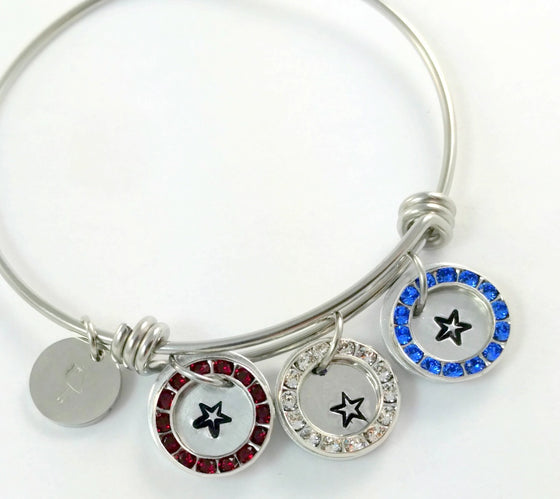 Bling Chicks Crystal Red White Blue Star Wire adjustable Bangle Bracelet - Bling Chicks Jewelry Accessories Gifts