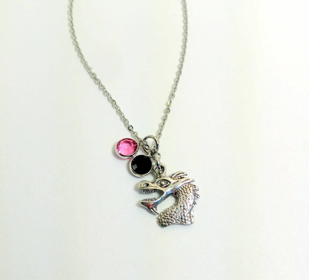 Dragon Charm Necklace With Crystals by Bling Chicks - D002 - Bling Chicks Jewelry Accessories Gifts