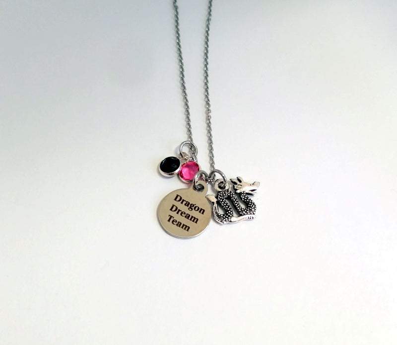 Personalized Dragon Team Charm Necklace With Crystals by Bling Chicks - D006