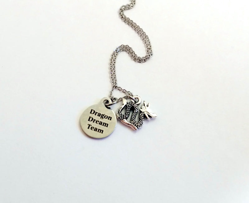 Personalized Dragon Team Charm Necklace - by Bling Chicks - D010 - Bling Chicks Jewelry Accessories Gifts