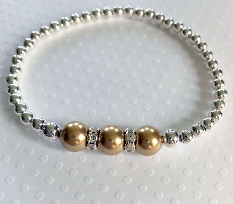 Childhood Cancer Awareness Bracelet Silver Beads Gold Swarovski Pearls - Stack-able charm Bracelet - Bling Chicks Jewelry Accessories Gifts