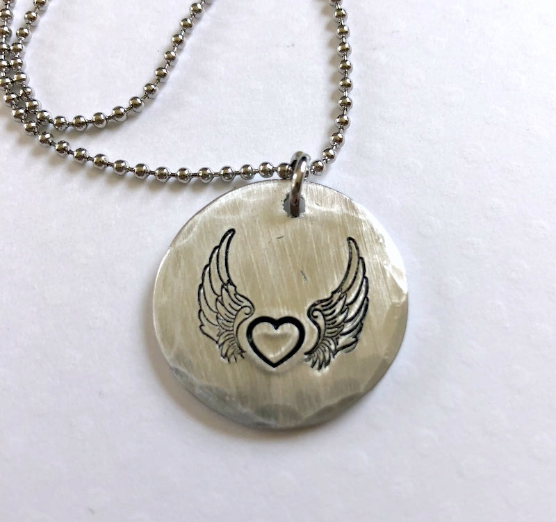 Angel Wing Heart Necklace - Bling Chicks Jewelry Accessories Gifts