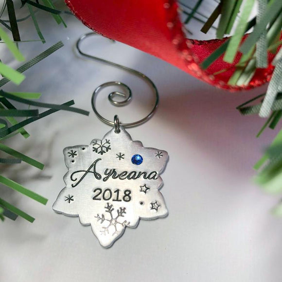 Personalized Birthstone Snowflake Christmas Tree Ornament - Bling Chicks Jewelry Accessories Gifts