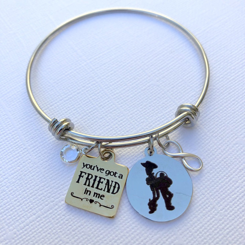BONUS - You've Got A Friend In Me Bangle Charm Bracelet & Cuff Bracelet + FREE Cuff Bracelet- By Bling Chicks - Bling Chicks Jewelry Accessories Gifts