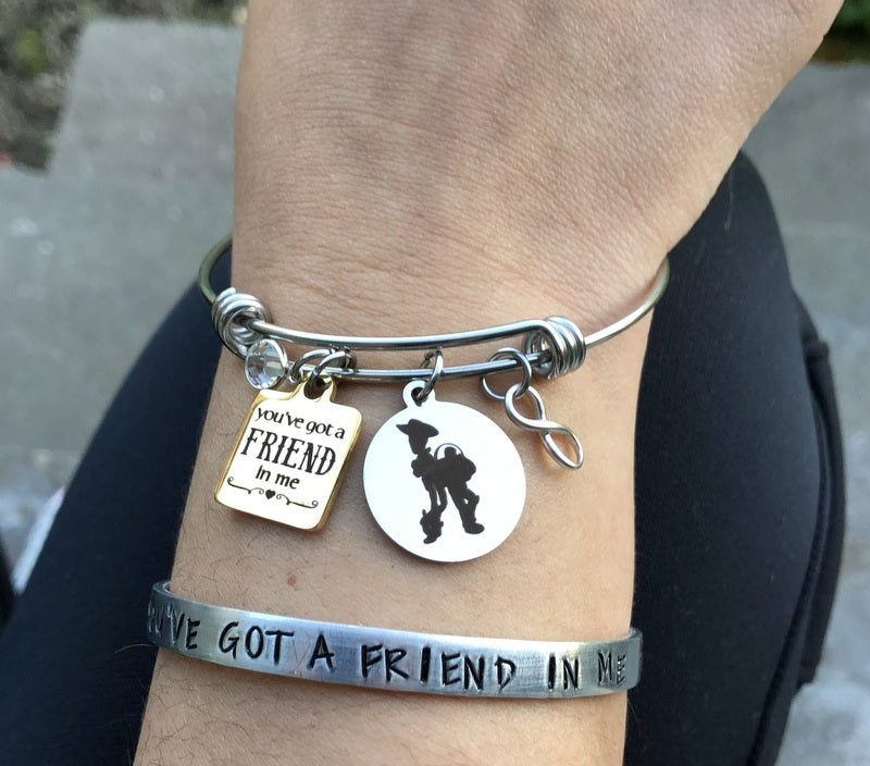 You've Got A Friend In Me Silver Cuff Bracelet - By Bling Chicks - Bling Chicks Jewelry Accessories Gifts