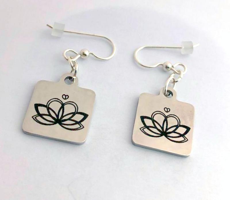 Lotus Earrings, The Giving Doll custom earrings, fundraiser earrings