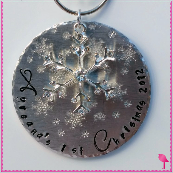 Baby's First Christmas  Hand Stamped Ornament by Bling Chicks - Bling Chicks Jewelry Accessories Gifts