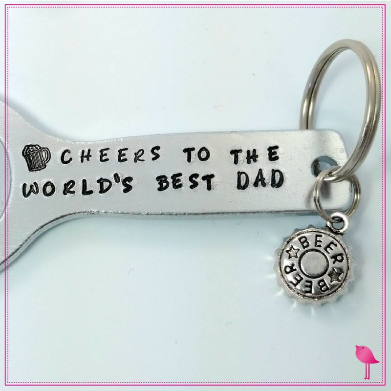 Bottle Opener Keychain Cheers To Best Dad - by Bling Chicks - Bling Chicks Jewelry Accessories Gifts