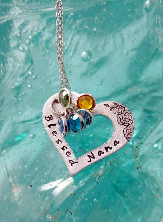 Nana Gifts - Blessed Nana Bling Chicks Family Jewelry Heart Necklace