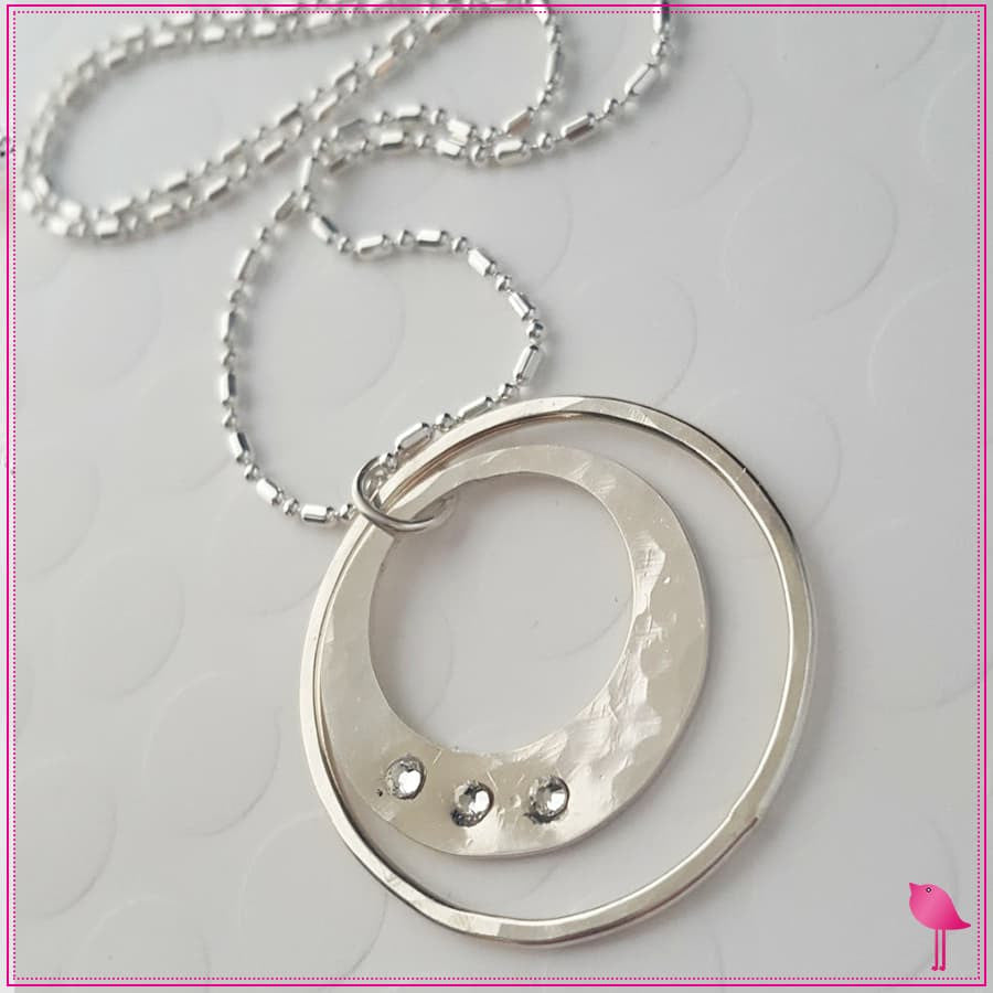 Silver Circle Bling Chicks Necklace - Bling Chicks Jewelry Accessories Gifts