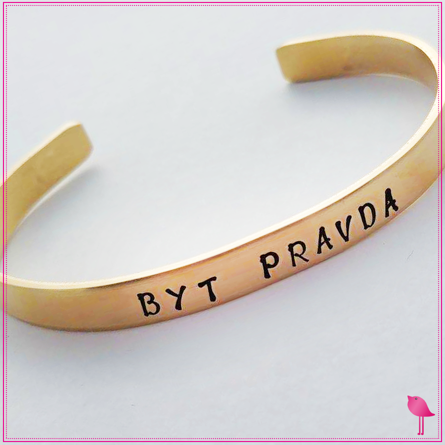 Hand Stamped Nu Gold Cuff Bracelet by Bling Chicks