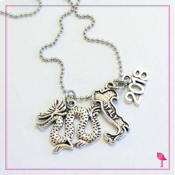 Dragon Charm Necklace With Italy and Year - Bling Chicks D118 - Bling Chicks Jewelry Accessories Gifts