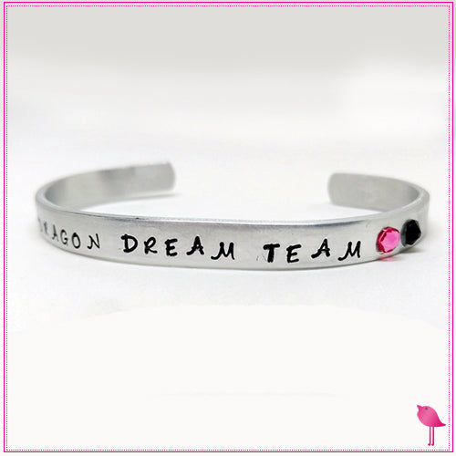 Custom stamped cuff bracelet for Dream Team by Bling Chicks