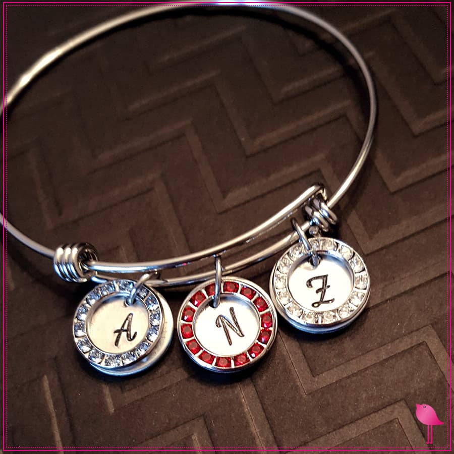 Initial and Birthstone Circle Bling Chicks Expandable Bracelet