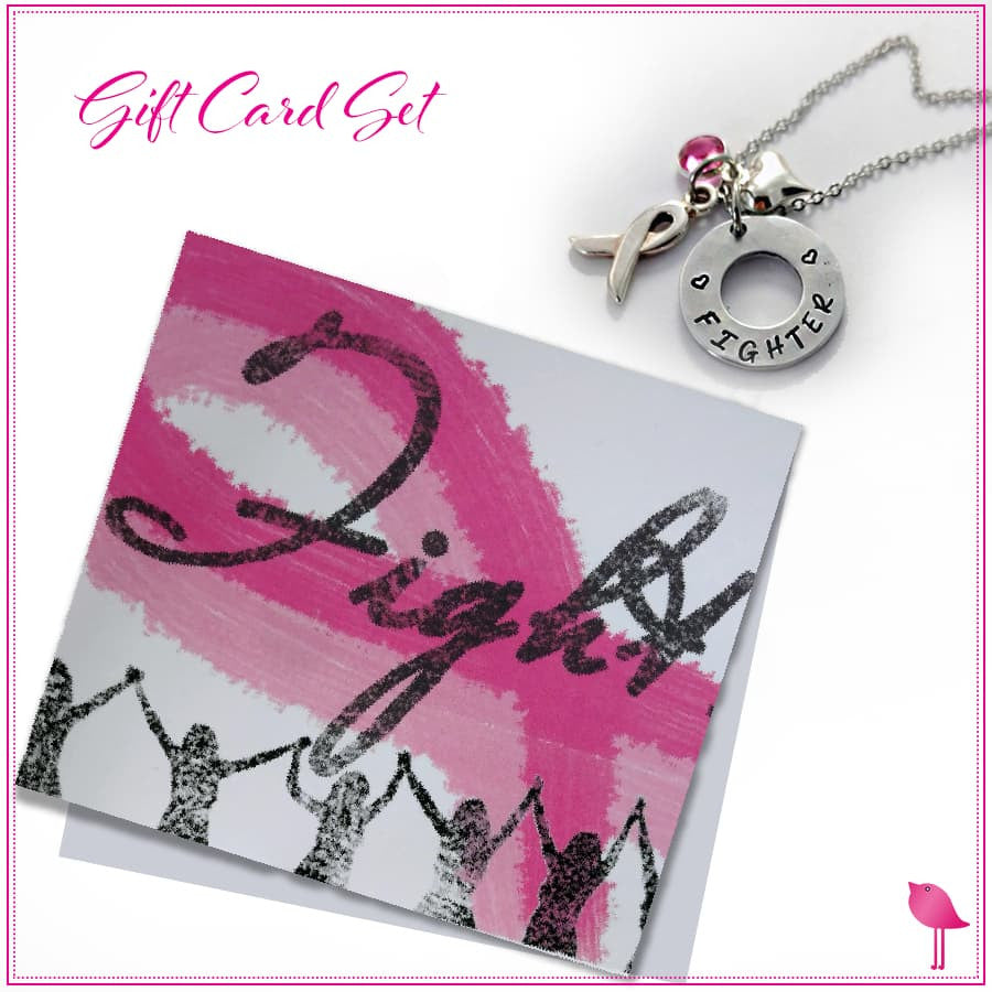 FIGHTER Bling Chicks Cancer Awareness Card with Necklace - Bling Chicks Jewelry Accessories Gifts
