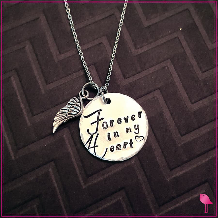# Forever in My Heart Bling Chicks Memorial Necklace - Bling Chicks Jewelry Accessories Gifts