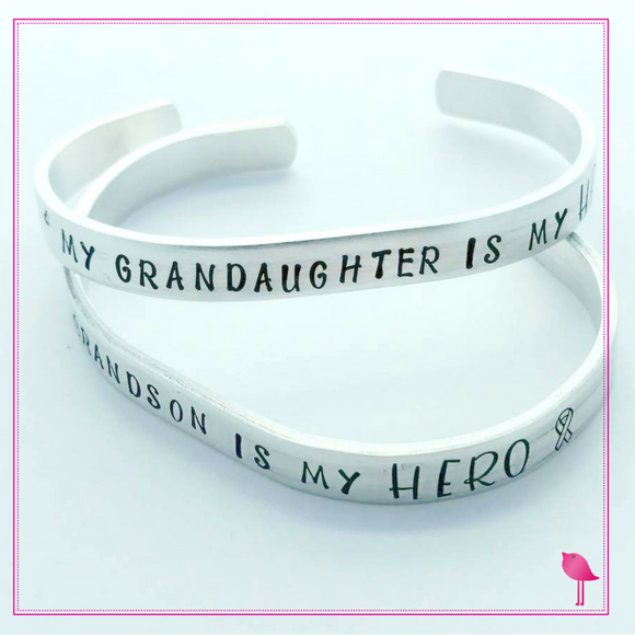 Childhood Cancer Awareness Cuff - My Grandson is my HERO Bracelet by Bling Chicks - Bling Chicks Jewelry Accessories Gifts