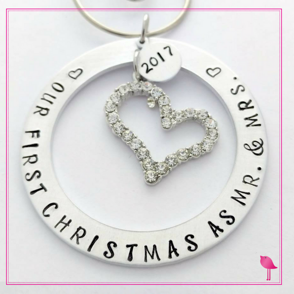 """Our First Christmas as Mr. & Mrs"" Hand Stamped Ornament by Bling Chicks - Bling Chicks Jewelry Accessories Gifts"