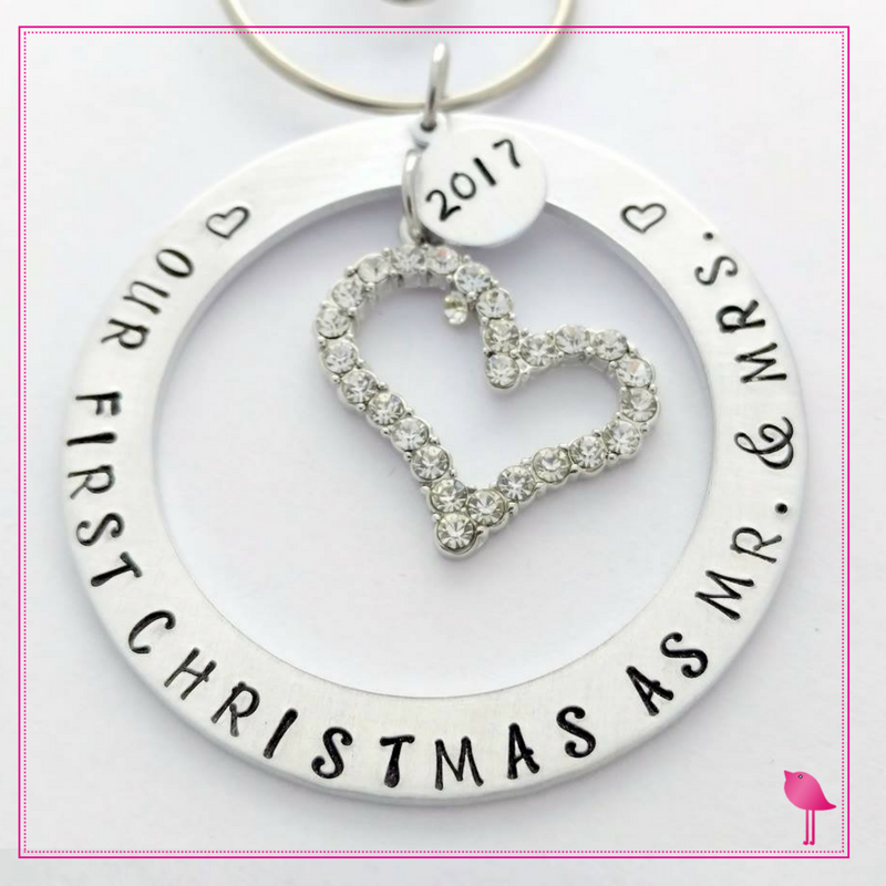 "#""Our First Christmas as Mr. & Mrs"" Hand Stamped Ornament by Bling Chicks - Bling Chicks Jewelry Accessories Gifts"