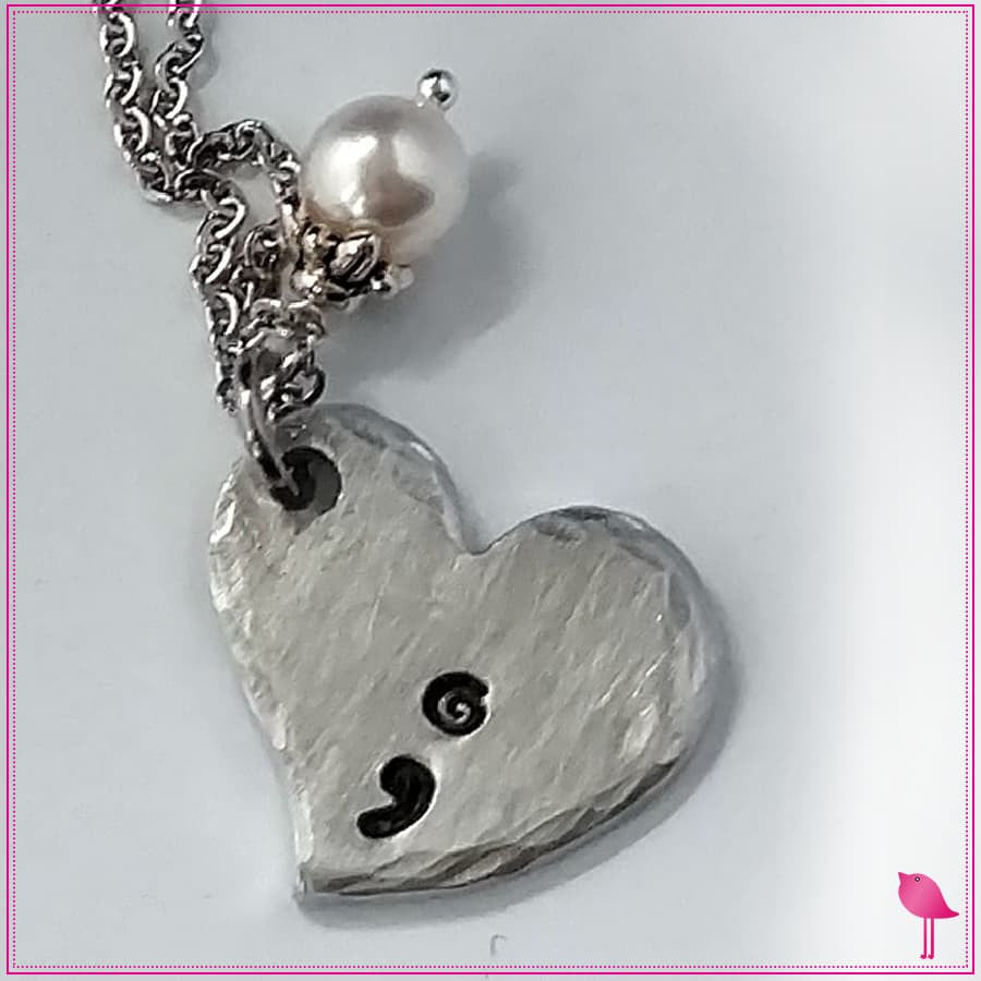 Semicolon Heart Bling Chicks Necklace - Bling Chicks