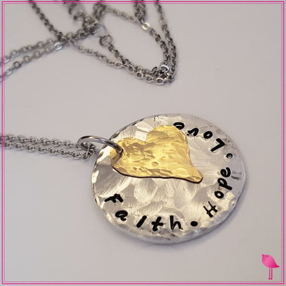 Hope Faith Love Hand Stamped Bling Chicks Necklace - Bling Chicks Jewelry Accessories Gifts