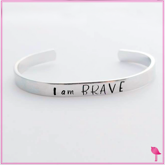 Cancer - Inspirational - I am BRAVE Cuff Bracelet by Bling Chicks - Bling Chicks Jewelry Accessories Gifts