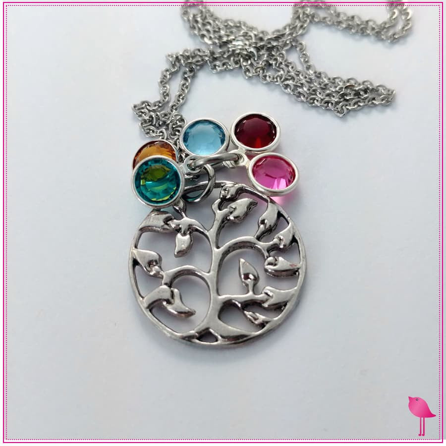 Family Tree Bling Chicks  Birthstone Charm Necklace