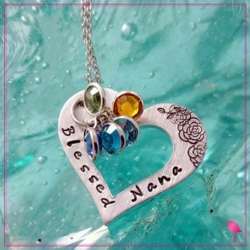 Nana Jewelry - Blessed Nana Bling Chicks Heart Necklace