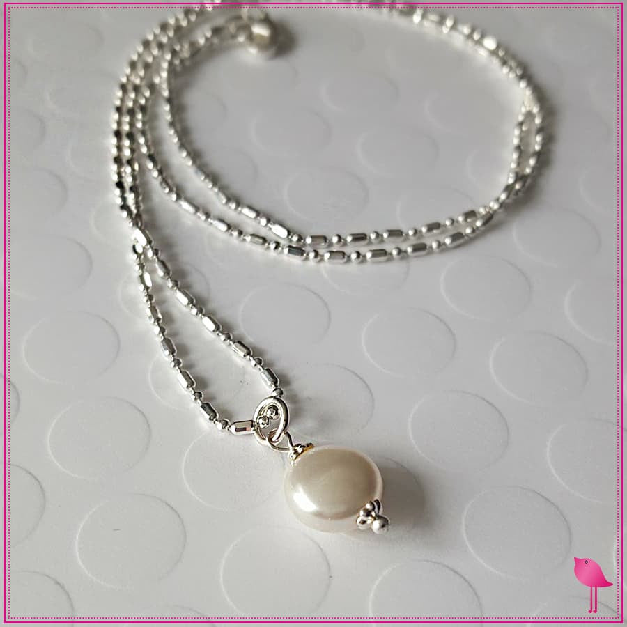 Simple Drop Pearl Bling Chicks Necklace - Bling Chicks