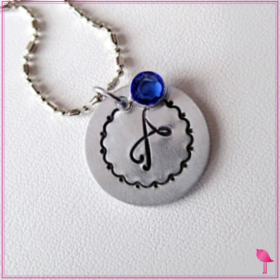 Monogram Initial Circle Bling Chicks Necklace - Bling Chicks