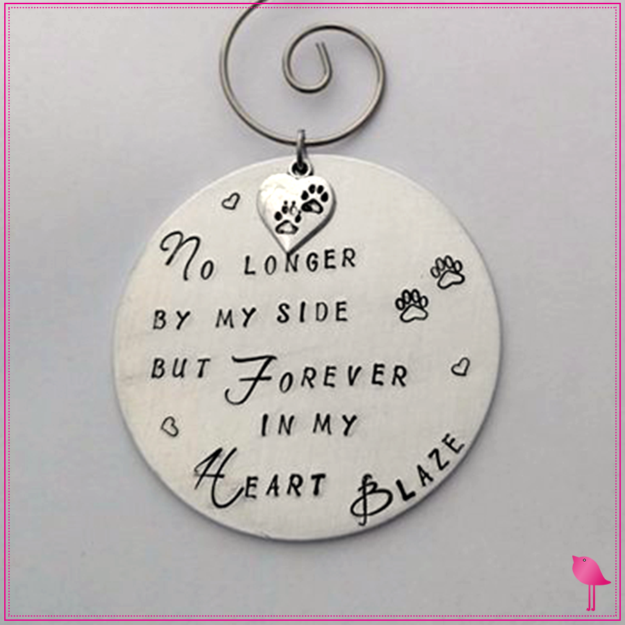 Pet Memorial Hand Stamped Christmas Ornament by Bling Chicks