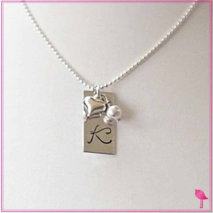 Monogram Initial Rectangle Bling Chicks Necklace - Bling Chicks Jewelry Accessories Gifts
