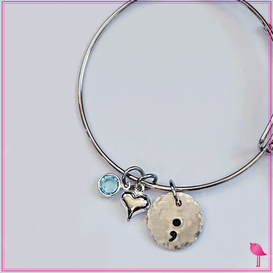 Semicolon Bling Chicks Expandable Bracelet with Blue Crystal - Bling Chicks