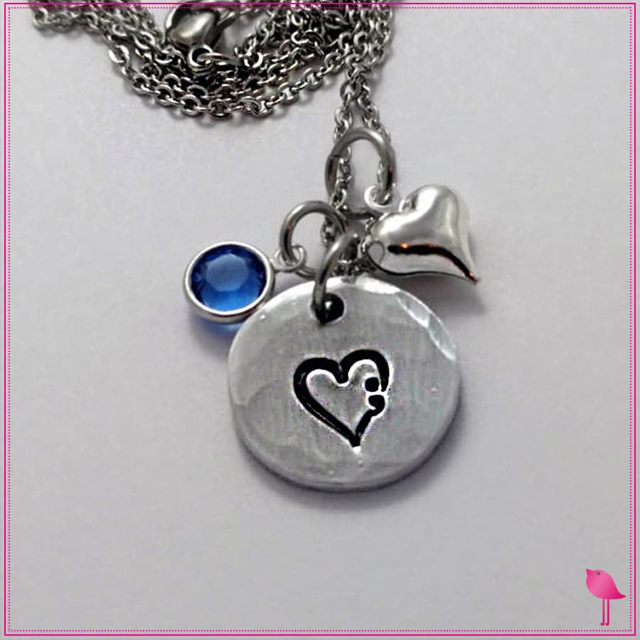 Semicolon in a heart Round Bling Chicks Necklace - Bling Chicks Jewelry Accessories Gifts