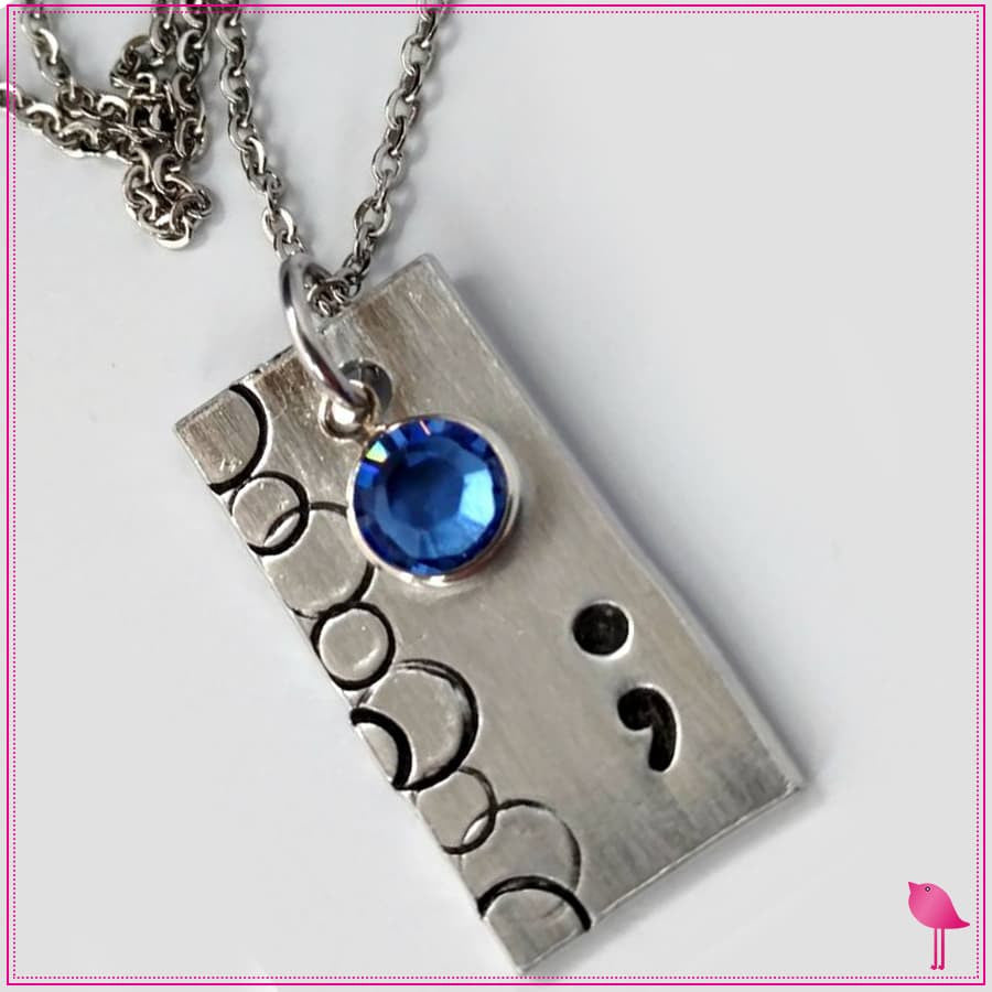 Semicolon Rectangle Bling Chicks Necklace with Blue Crystal - Bling Chicks Jewelry Accessories Gifts