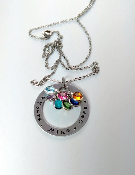 Your Mine Ours Bling Chicks Family Birthstone Necklace - Bling Chicks Jewelry Accessories Gifts