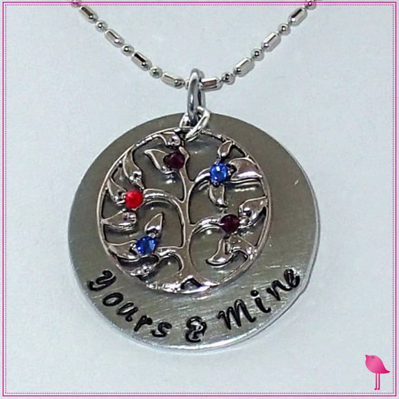 Yours & Mine Family Tree Bling Chicks Necklace - Bling Chicks Jewelry Accessories Gifts