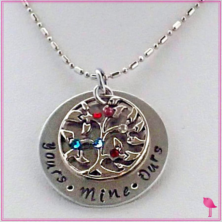 Yours, Mine, Ours Family Tree Bling Chicks Necklace - Bling Chicks Jewelry Accessories Gifts