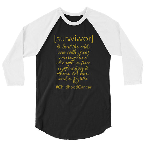 Survivor of Childhood Cancer 3/4 sleeve raglan shirt - Bling Chicks Jewelry Accessories Gifts