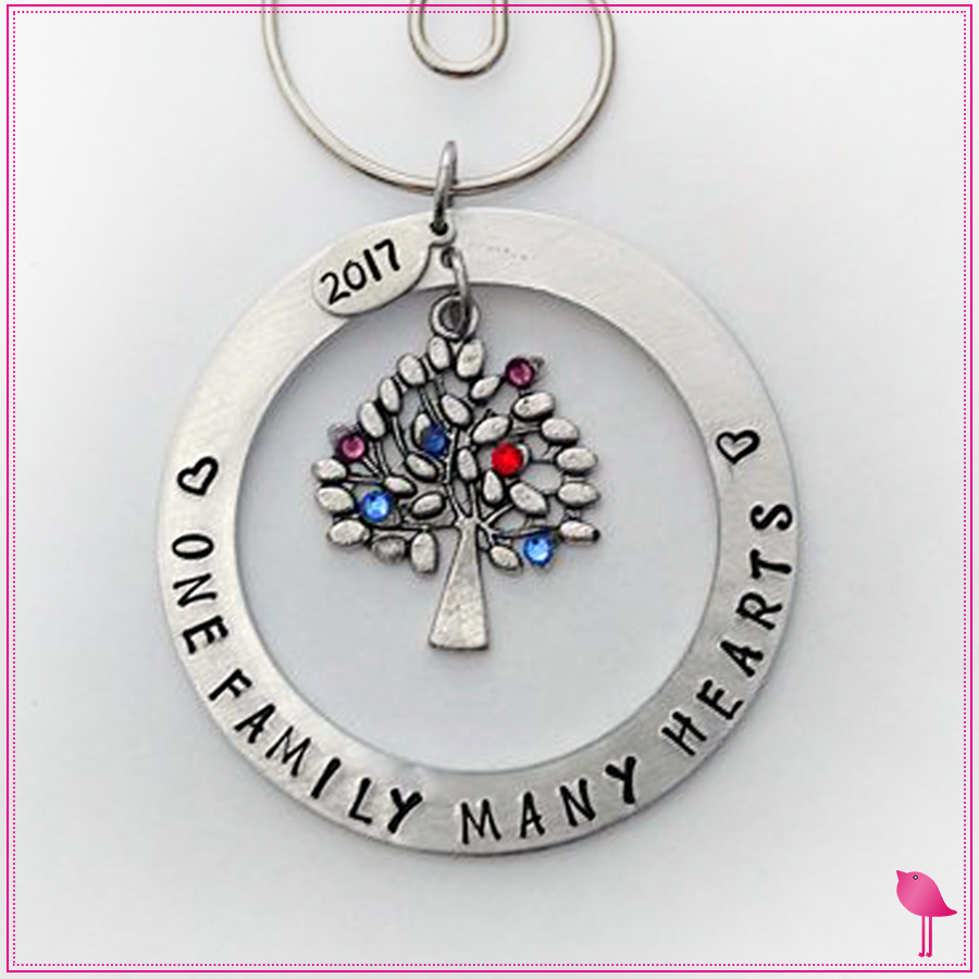 """One Family Many Hearts"" Hand Stamped Birthstone Ornament by Bling Chicks - Bling Chicks Jewelry Accessories Gifts"