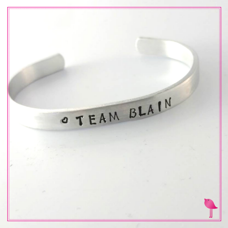 "Custom Hand Stamped Cuff Bracelet ""Team Blain"" by Bling Chicks"