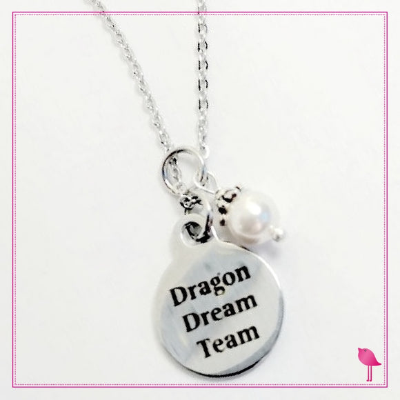 Team Name Charm Necklace With Pearl by Bling Chicks - D001 - Bling Chicks Jewelry Accessories Gifts