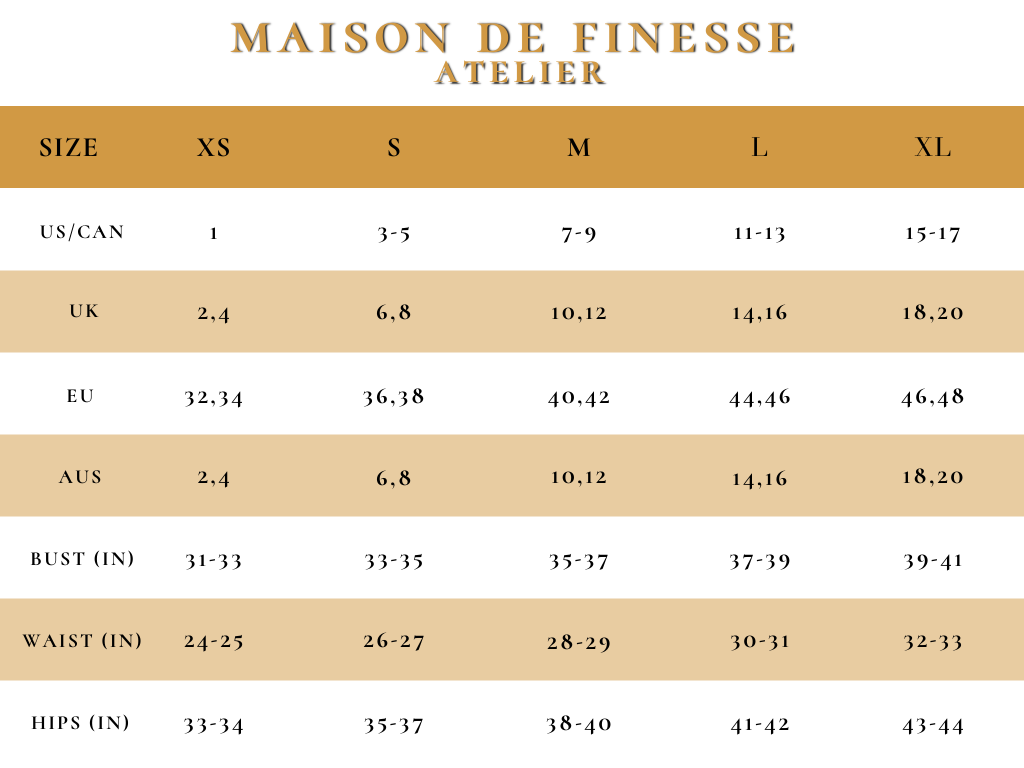 MDF Atelier Size Guide