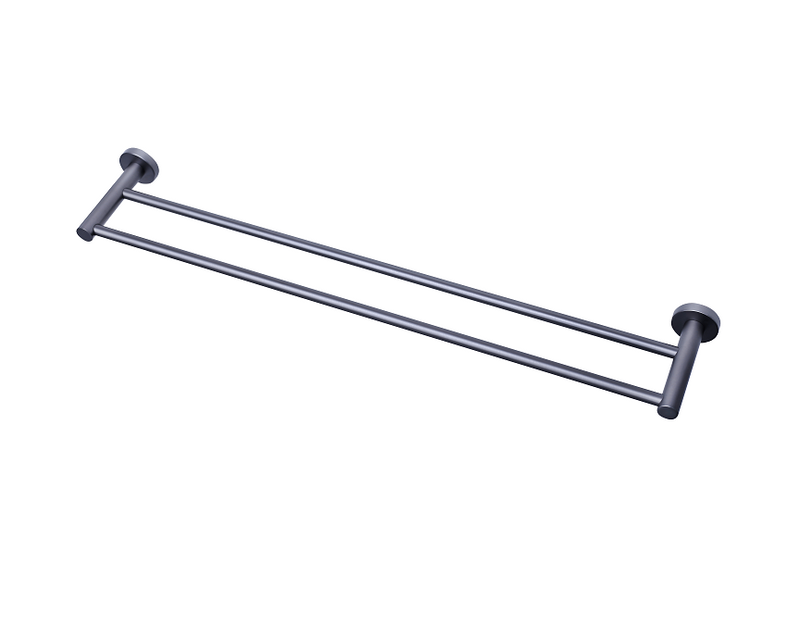 MODERN NATIONAL MIRAGE DOUBLE TOWEL RAIL BRUSHED NICKEL (AVAILABLE IN 600MM AND 750MM)