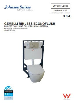 JOHNSON SUISSE GEMELLI RIMLESS ECONOFLUSH CONCEALED