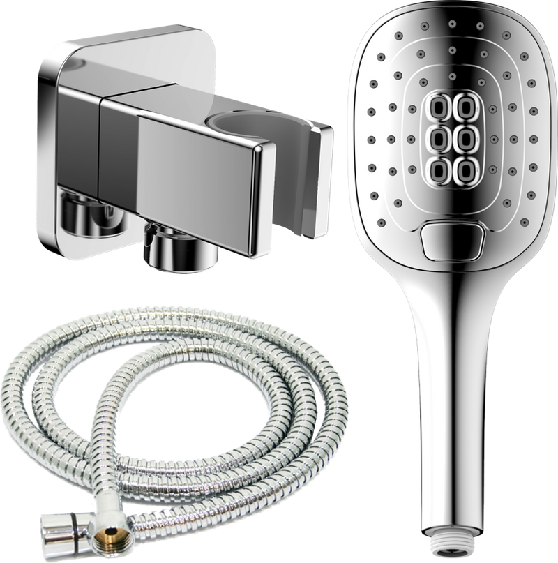 JOHNSON SUISSE FERLA/FELINO 3 FUNCTION HAND SHOWER WITH HOSE & BRACKET CHROME